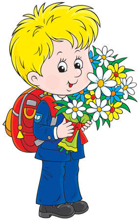 child of school age: Schoolboy holding flowers Illustration