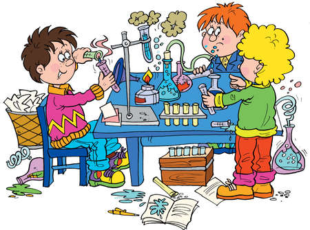 pedagogics: Chemical experiment Stock Photo