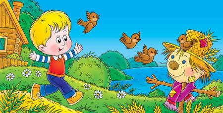 running boy and sparrows photo