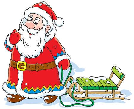 trineo: Santa Claus con trineo Vectores