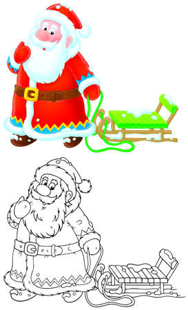 Santa Claus pulling a sleigh photo