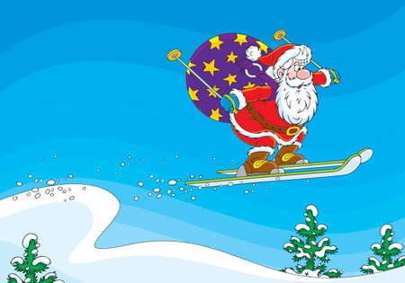 Santa Claus ski jumper Vector