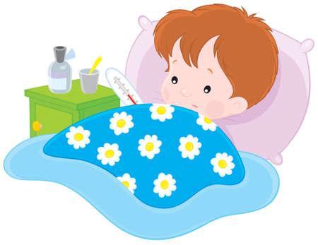 niño enfermo acostado con un termómetro en una cama Ilustración de vector