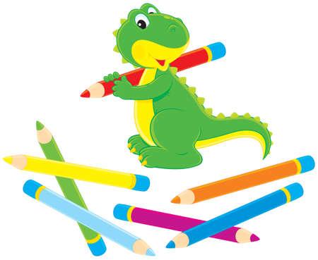 Dibujo dinosaurio verde con lápices de colores Ilustración de vector