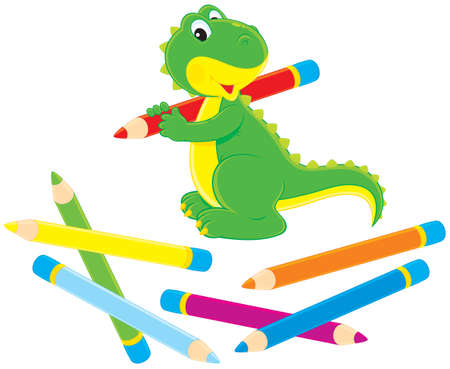 Green dinosaurus tekening met kleurpotloden