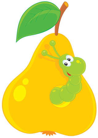 cartoon larva: green worm looking out of a hole in a yellow pear