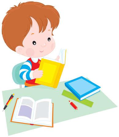 deberes: ni�o leyendo un libro en la mesa Vectores