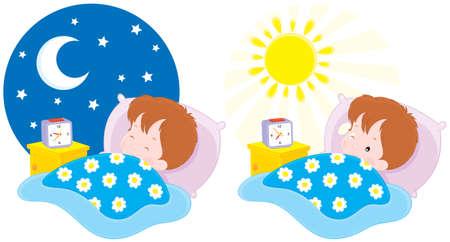 Niño dormir y despertar Ilustración de vector