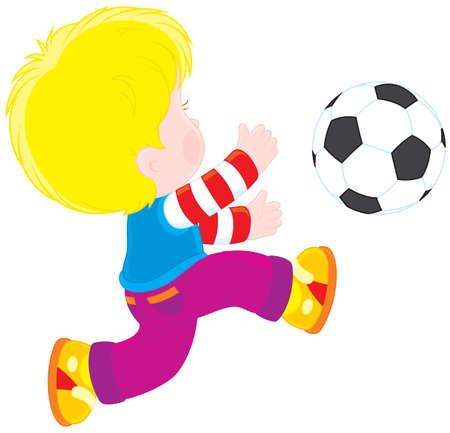 young schoolchild: Boy playing football