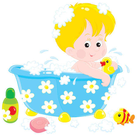 boyish: Child bathing with toys Illustration