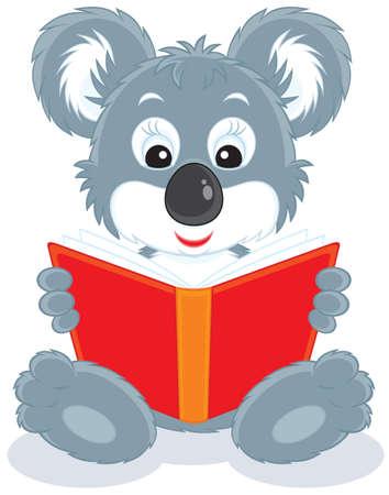 phascolarctos cinereus: Koala Bear Cub de leer un libro rojo Vectores