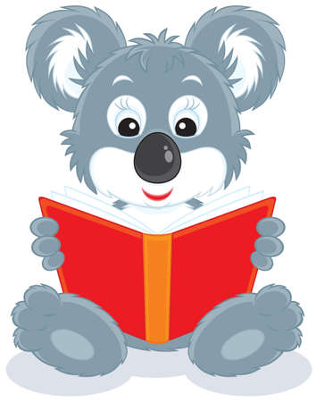 Koala bear cub reading a red book Vector