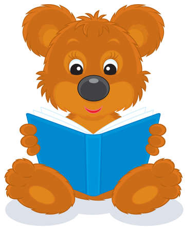 laughable: brown bear cub reading a blue book
