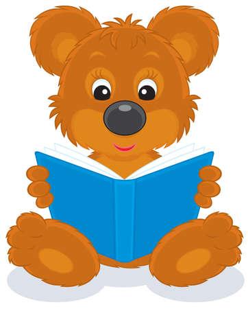 cub: brown bear cub reading a blue book
