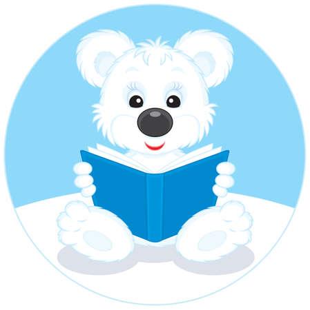 ourson: Ourson polaire en lisant un livre bleu