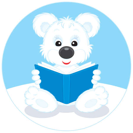 cub: Polar bear cub reading a blue book