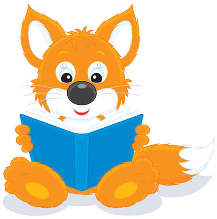 Fox cub reading a book Stock Vector - 12018364