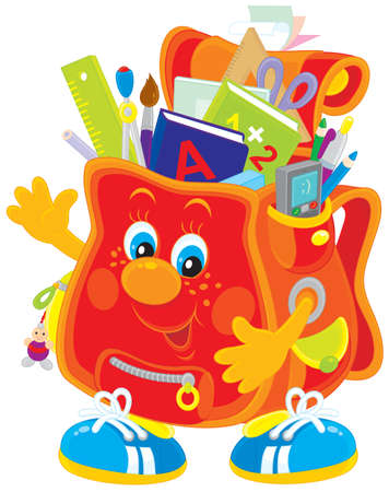 school satchel with books and stationery  Vector