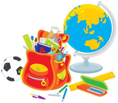 papeteria: Globe, piłka nożna, szkolny tornister i materiały piśmienne Ilustracja