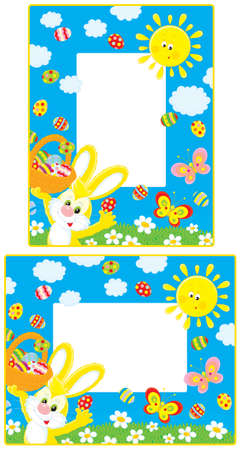 borders with Easter Bunny Vector