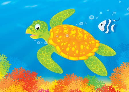Turtle and fish swim over a coral reef