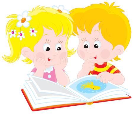 Jungen und Mädchen beim Lesen