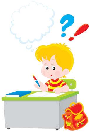 niños escribiendo: Colegial escribir un examen en la escuela Vectores