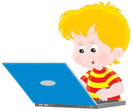 Boy with a laptop Stock Vector - 12437685