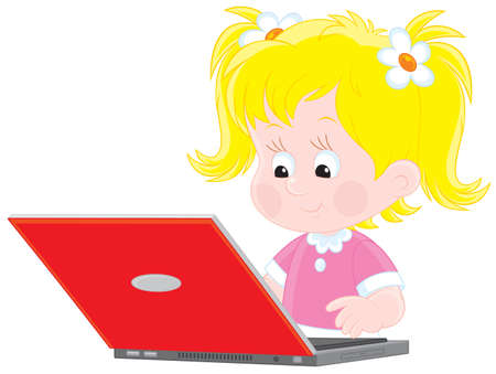 little girl typing on her laptop computer Vector