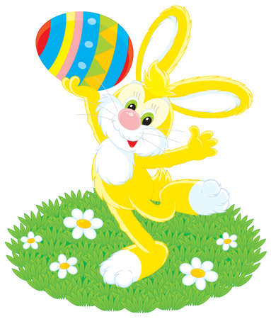 grassy plot: Easter Bunny holding a colorful painted egg