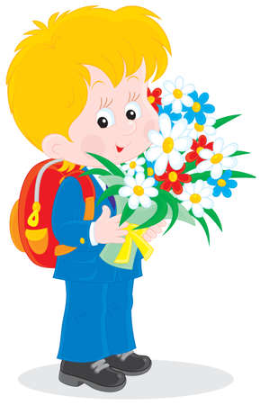 flower age: School boy with flowers