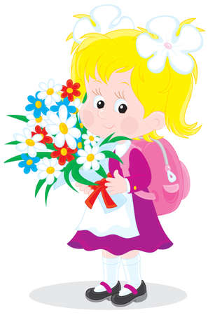 child of school age: Schoolgirl with flowers Illustration
