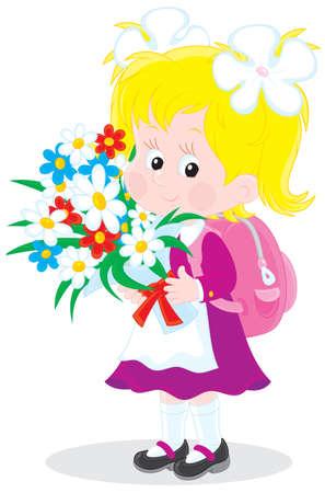 Schoolgirl with flowers Stock Vector - 12838929