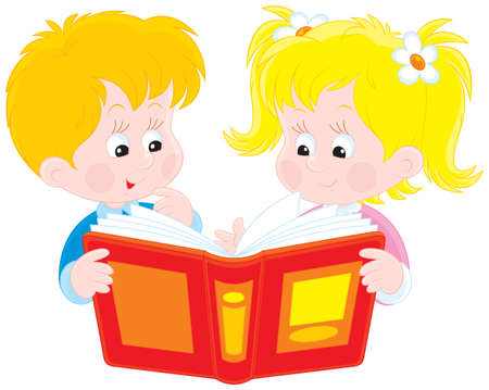 Girl and boy read a book Stock Vector - 12838909