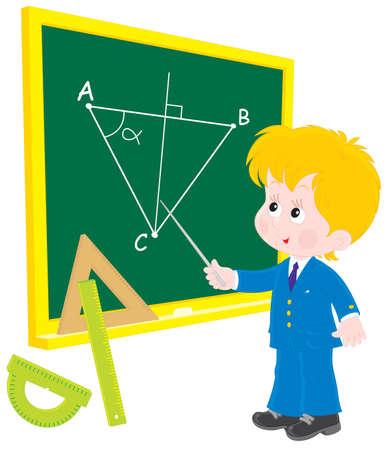 mathematical: Schoolboy at lesson Geometry