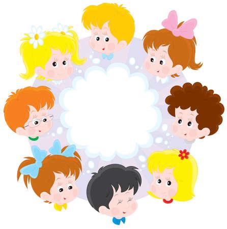 Las niñas y los niños en un círculo