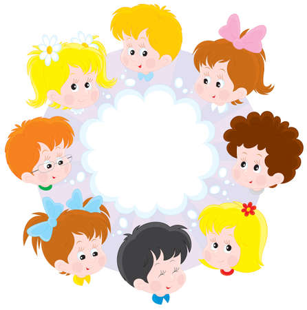 cartooning: Little girls and boys in a circle Illustration