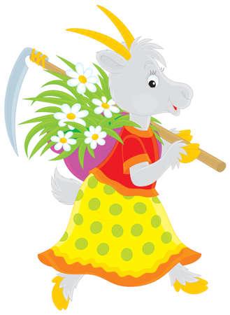 folktale: Cabra con una hierba guada�a y segado