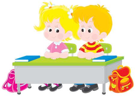 escuela primaria: Niños en edad escolar en un escritorio en una clase