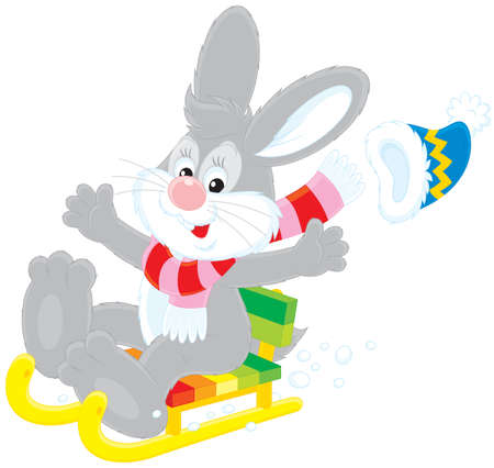 grey hare driving in a sledge Illustration