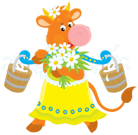 milking: Cow with milk and flowers
