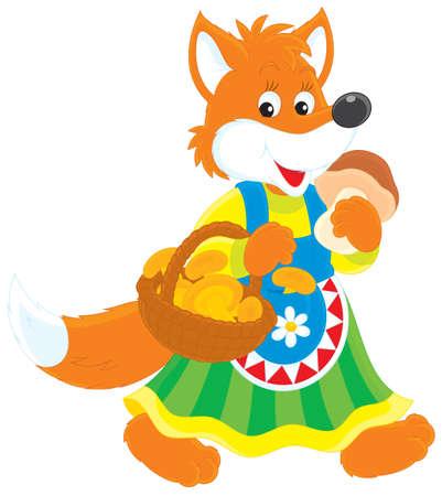 Fox mushroomer Vector