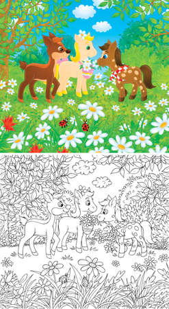 Little Ponies and Fawn Stock Photo - 13022942