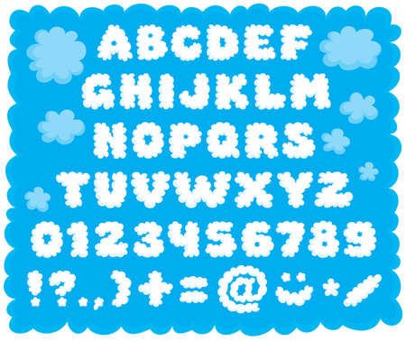 Cloud-shaped puffy text font for children Vector