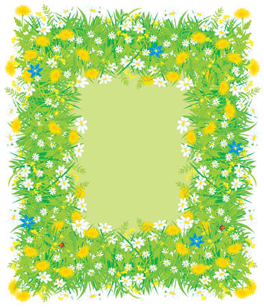 Border of flowers and grass Vector