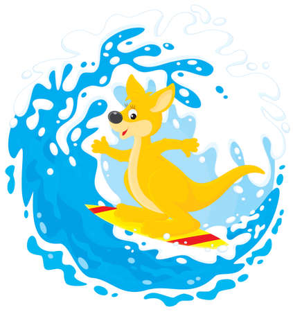 Kangaroo surfer riding a big ocean wave Vector