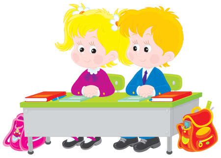 child of school age: School children at lesson Illustration