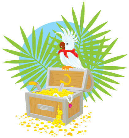Pirate Parrot and treasure chest Vector