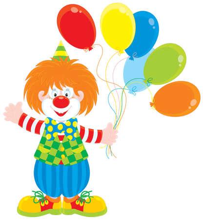 clown cirque: Cirque clown avec des ballons Illustration