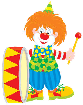 circus clown: Circus clown drummer Illustration